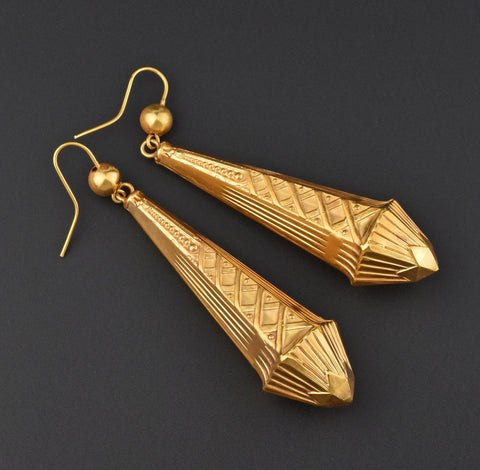 18K Gold Silver Large Art Nouveau Chandelier Earrings - ON HOLD