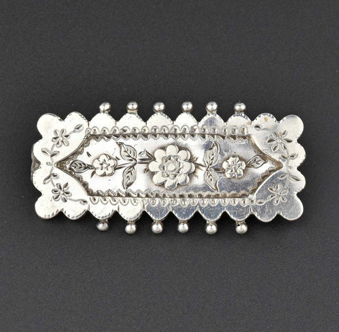 ON HOLD Vintage Forget Me Not Silver Victorian Brooch