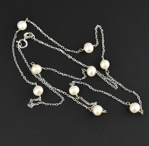 14K White Gold Tin Cup Pearl Necklace