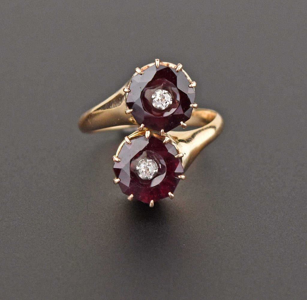 Vintage Diamond Garnet Bypass Engagement Ring - Boylerpf