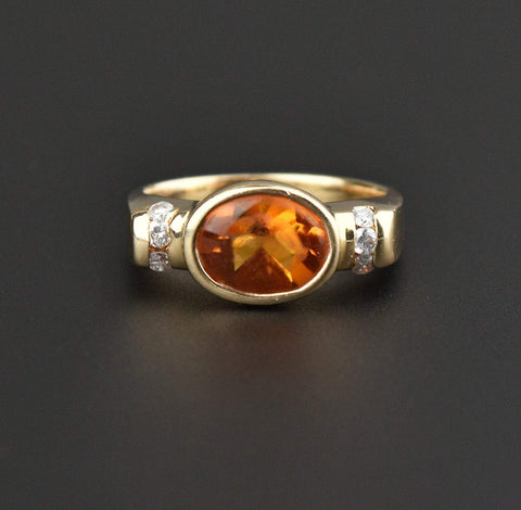 14K Gold Vintage Retro Diamond Citrine Ring