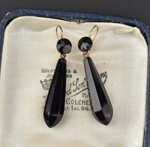 Long Victorian French Jet  Earrings