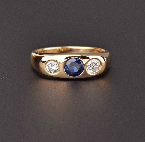 Diamond and Sapphire 14K Gold Engagement Wedding Band Ring