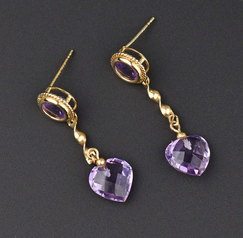 14K Gold Vintage Amethyst Dangle Heart Earrings