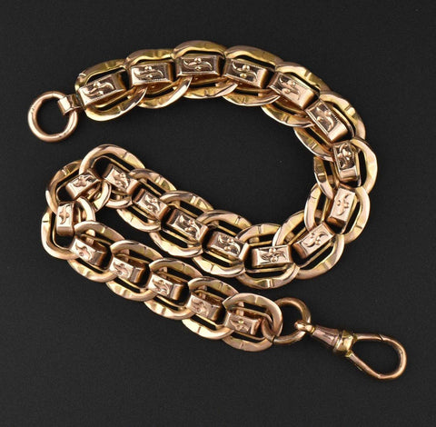 Vintage Rosy Rolled Gold Watch Chain Bracelet