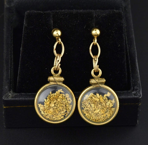 Gold Nugget Vintage Gold Bubble Dangle Earrings