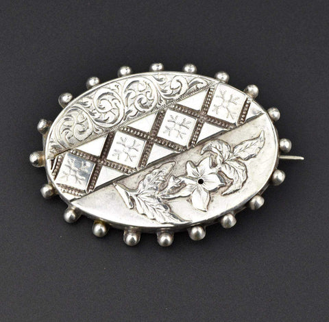 Victorian Silver Flower Brooch,Sweetheart Pin 1800s