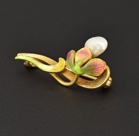 Antique Enamel & Pearl 14K Gold Brooch