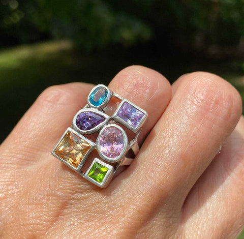 Vintage Multi Gemstone Statement Ring