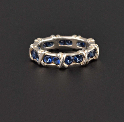 Hugs and Kisses X and O Sapphire Eternity Band