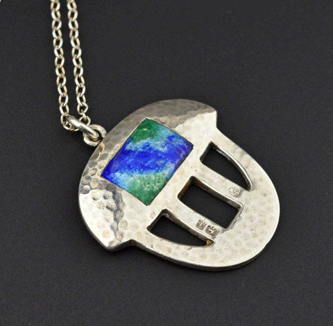 Vintage Arts & Crafts Silver Enamel Necklace
