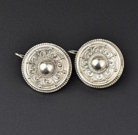 Vintage Silver Etruscan Earrings