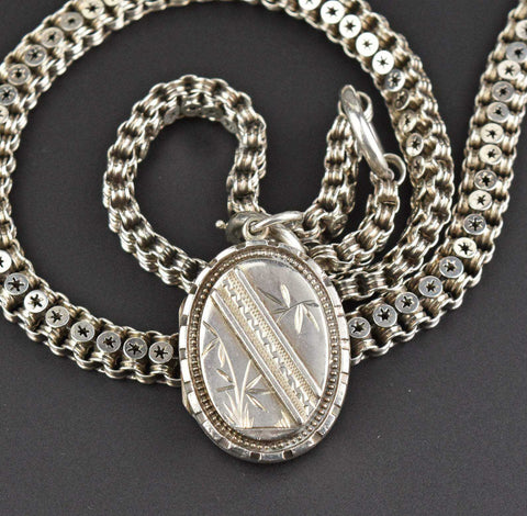 Victorian Silver Book Chain and Locket Necklace