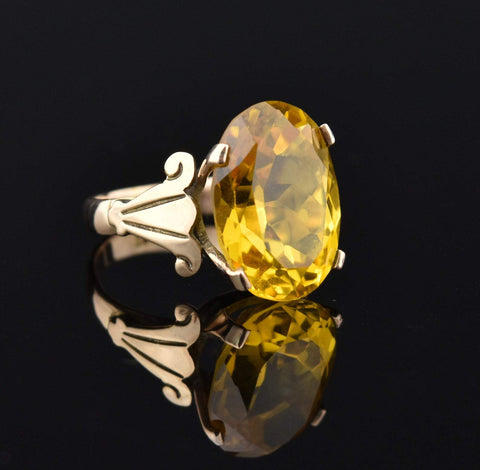14K Gold Vintage Yellow Sapphire Ring