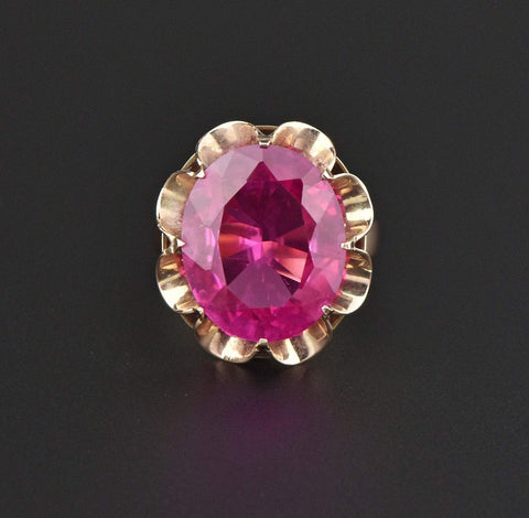 14K Gold Vintage Pink Sapphire Ring