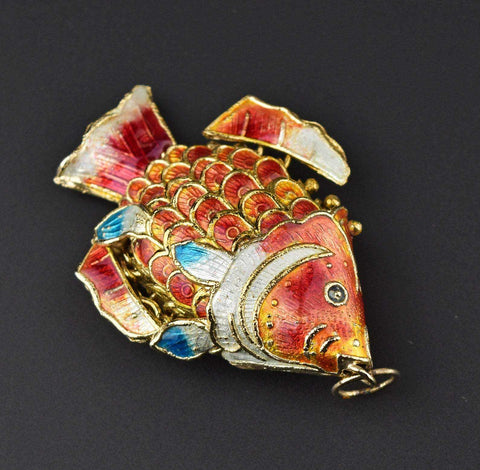 Sterling Silver Chinese Enamel Fish Pendant
