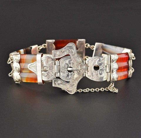 Victorian Scottish Agate Buckle Bracelet