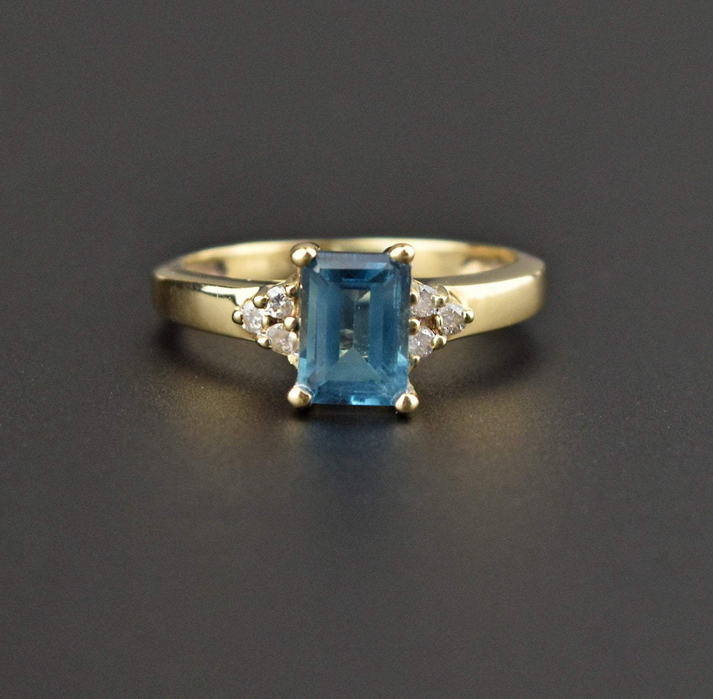 14K Gold Vintage Diamond Aquamarine Solitaire Ring - Boylerpf