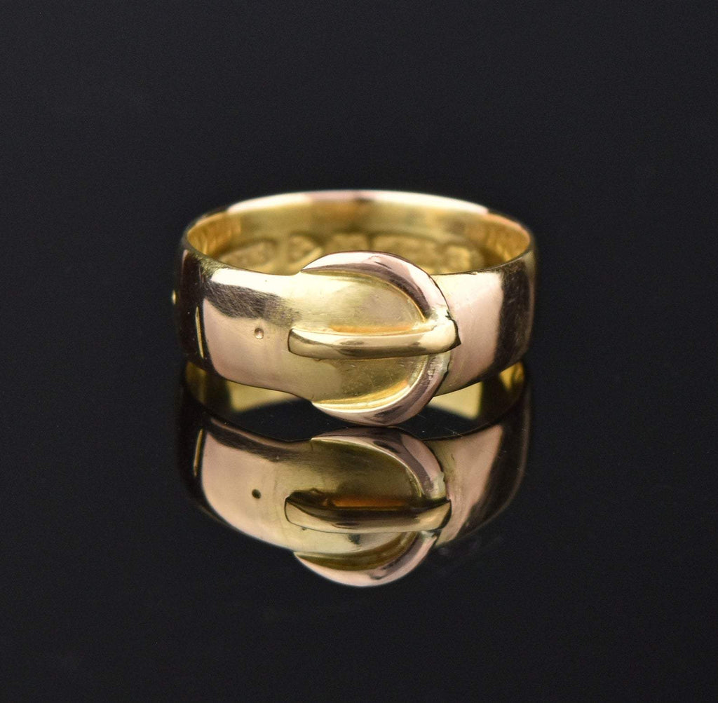 Victorian 15K Gold Wedding Band Buckle Ring - Boylerpf