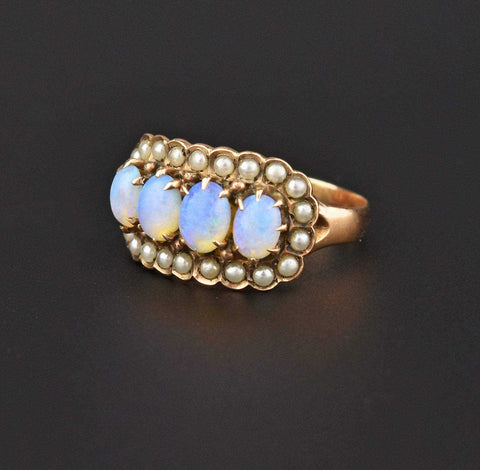 Vintage Pearl and Opal Ring 15K Gold