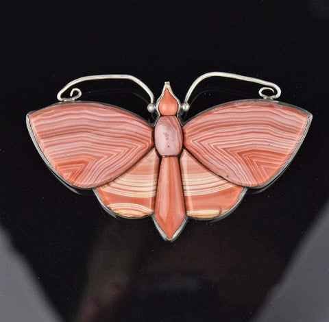 Victorian Scottish Agate Butterfly Brooch