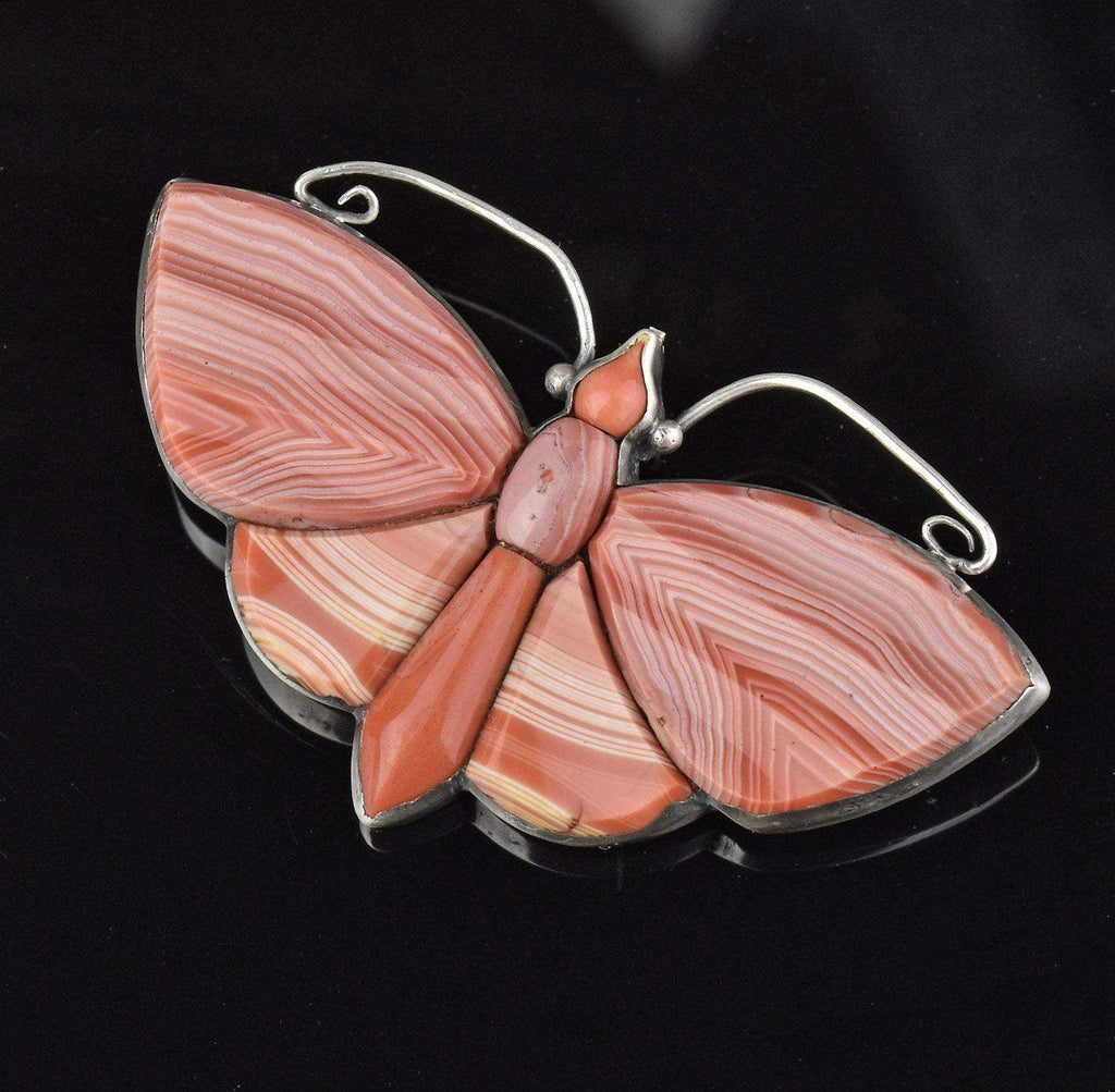 Victorian Scottish Agate Butterfly Brooch - Boylerpf