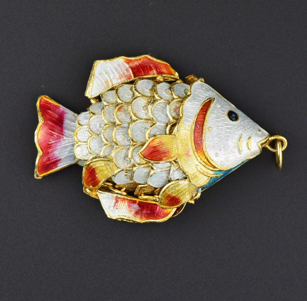 Articulated Vintage Chinese Enamel Fish Pendant - Boylerpf