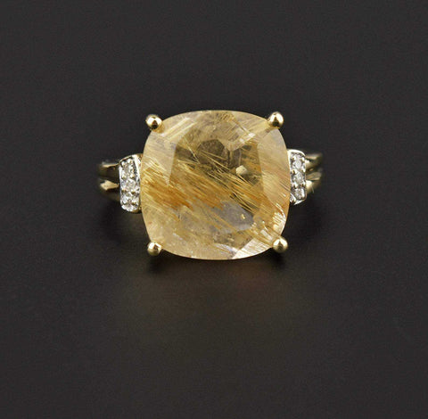 Vintage Gold Smoky Quartz Statement Ring