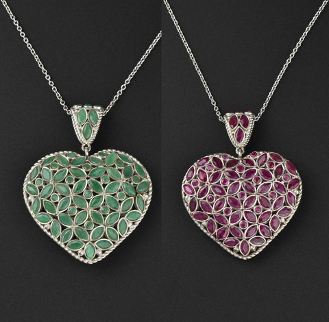 Vintage Ruby Emerald Puffy Heart Pendant Necklace