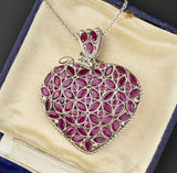 Vintage Ruby Emerald Puffy Heart Pendant Necklace - Boylerpf