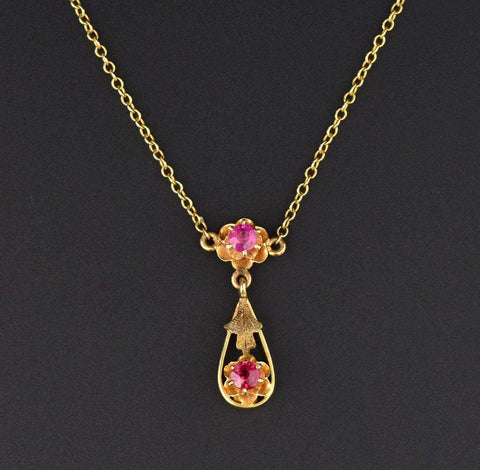 Vintage Ruby Lavaliere 14K Gold Necklace