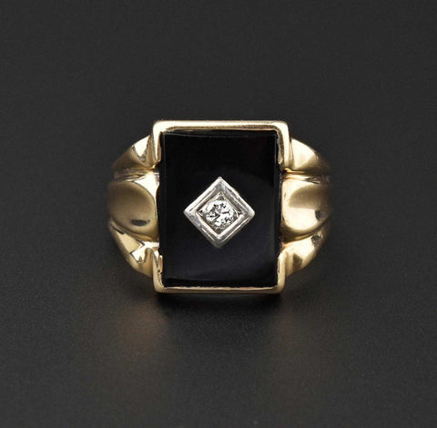 Vintage Mens Gold Diamond Onyx Ring