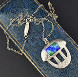 Vintage Arts & Crafts Silver Enamel Necklace - Boylerpf