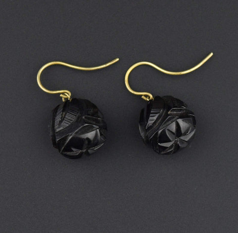 Victorian Carved Whitby Jet Earrings