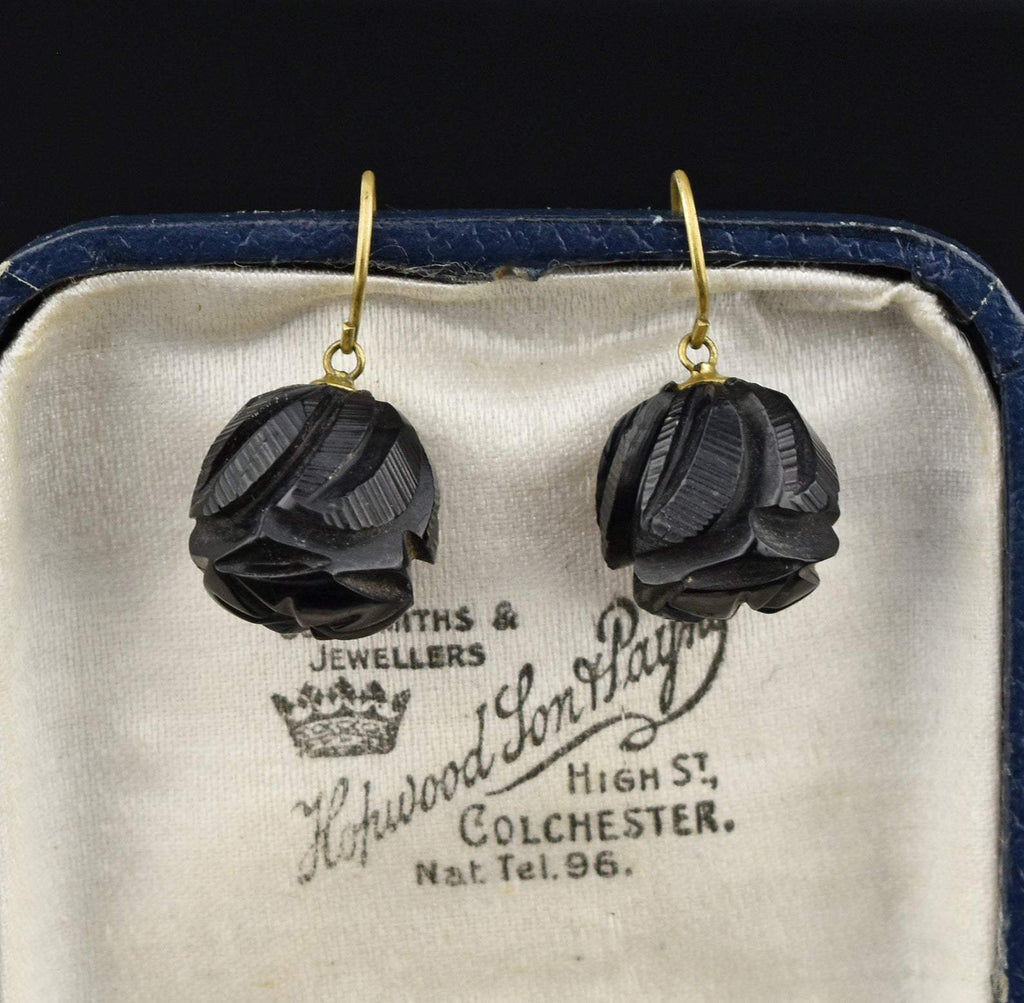 Victorian Carved Whitby Jet Earrings - Boylerpf