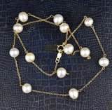 10K Gold Chain Tin Cup Pearl Necklace - Boylerpf