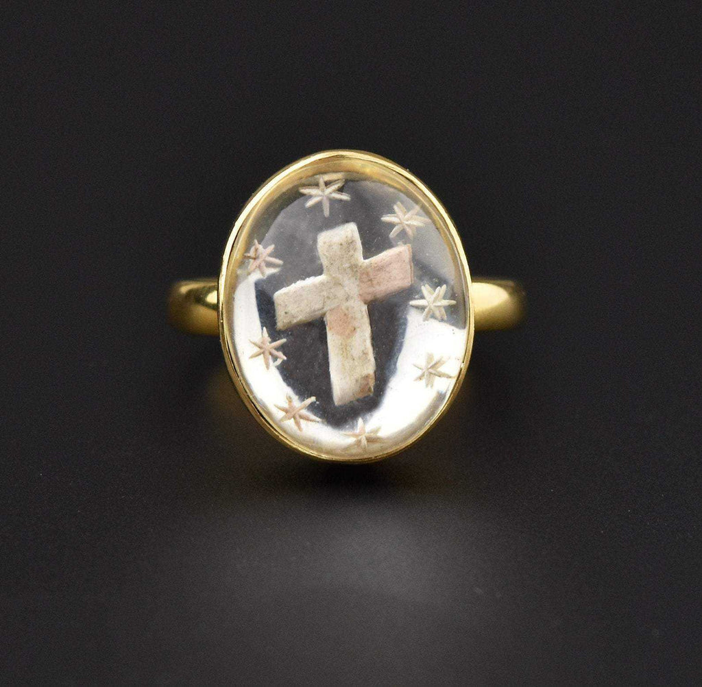 Victorian 18K Gold Essex Crystal Ring - Boylerpf