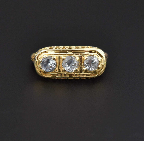 Vintage Full Eternity Diamond 14K Gold Ring