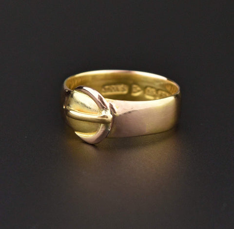 Victorian 15K Gold Wedding Band Buckle Ring