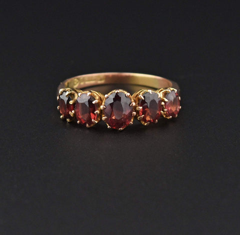 Victorian Gold Garnet Five Stone Engagement Ring