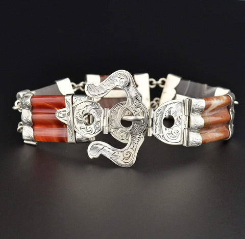 Art Deco Silver Rock Crystal Bangle Bracelet