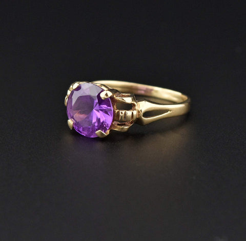 Art Deco 14K Gold Amethyst Solitaire Ring
