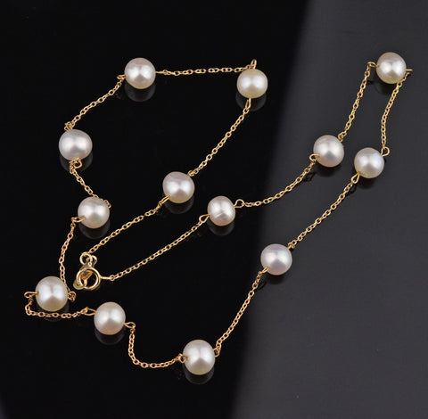 10K Gold Chain Tin Cup Pearl Necklace