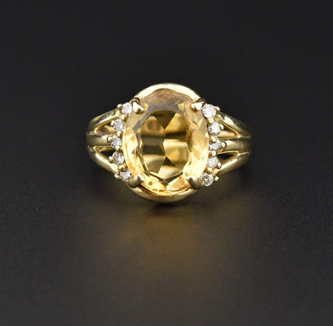 Vintage Gold Diamond Rutilated Quartz Ring