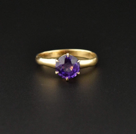 14K Gold Edwardian Amethyst Solitaire Engagement Ring