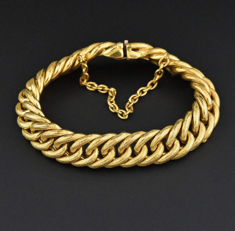 Victorian Heavy Embossed Curb Link Bracelet 65gm