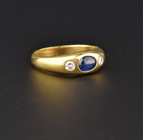 14K Gold Diamond and Sapphire Cabochon Ring