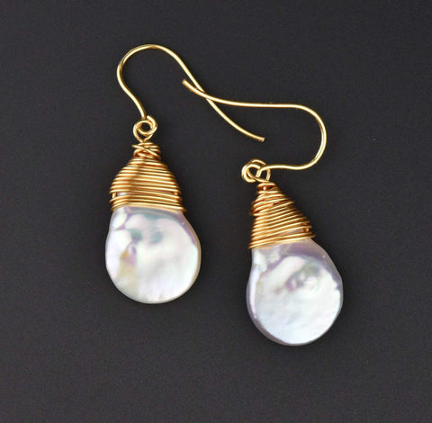 Gold Wire Wrapped Baroque Pearl Earrings