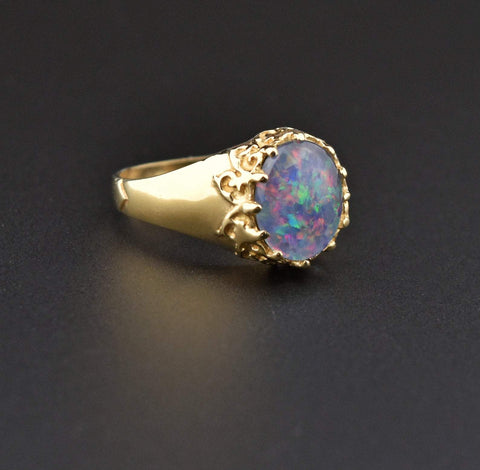 Gold Opal Doublet Signet Style Ring