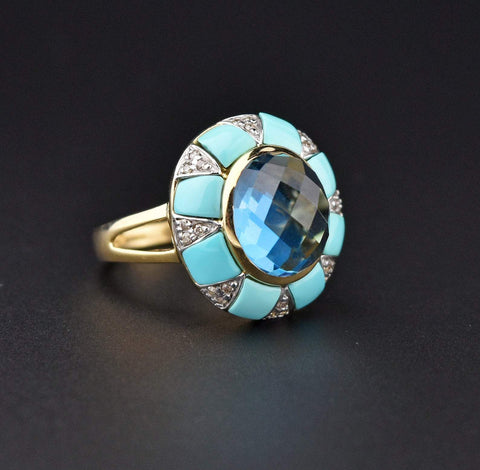 Diamond Turquoise and Blue Topaz 14K Gold Ring